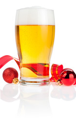 Glass fresh beer,  Red ribbon and Christmas Balls isolated on wh
