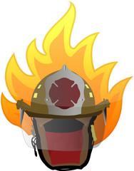 firefighter helmet on fire illustration design on white