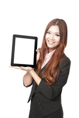 Business woman smile and showing tablet pc