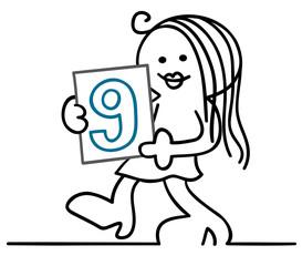 figur nummerngirl zeigt neunte runde