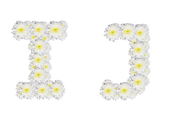 alphabet IJ , White Flower isolated on white background