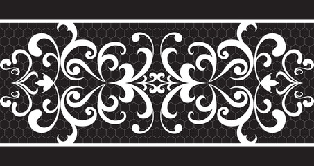 Seamless lace floral pattern isolated on black