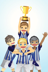 Sport kids lifting trophy