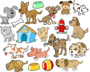 Cute Dog Design Elements Vector Set