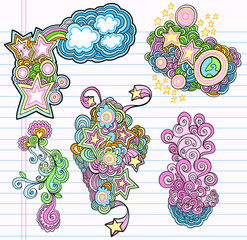 Groovy Doodle Design Elements Vector Set