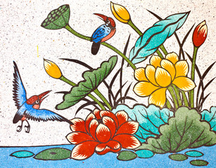 painting of bird and lotus on the wall