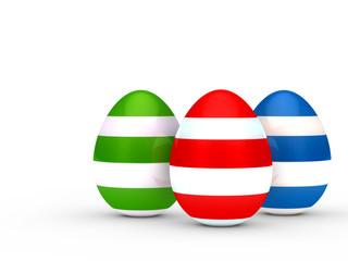 Drei Ostereier bunt