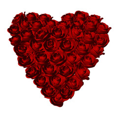 Red roses heart shape on white background