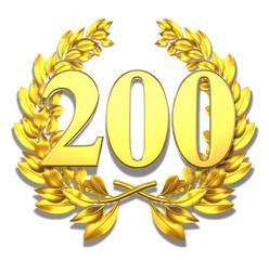200 twohundred number laurel wreath