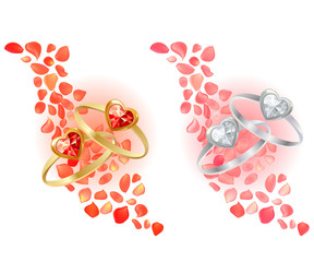 Two rings and rose petals. Two variants of colour.