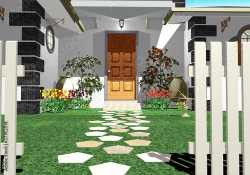 Villa Di Lusso Ingresso Esterno House Garden Exterior 3d Stock