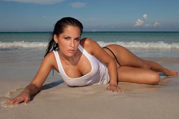 Seductive Model On Sandy Beach