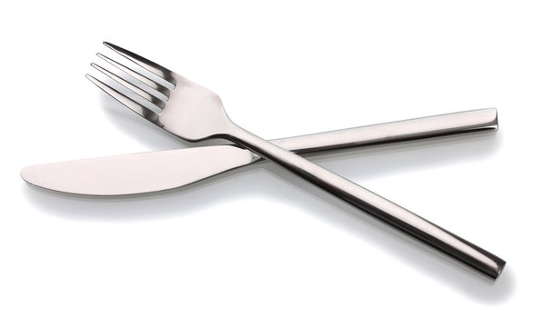 Silver fork and knife isolated on white
