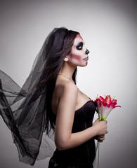 dead bride woman in skull face art mask