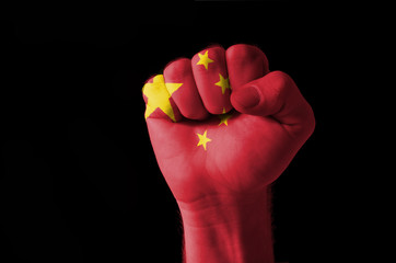 Fist painted in colors of china flag