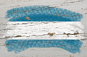 flag of  el salvador on grunge wooden texture painted with chalk