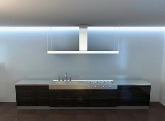 cucina fornelli acciaio inox render 3d