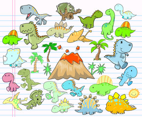 Cute Dinosaur Design Elements Vector Set