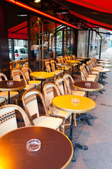 Paris. Tables in street cafe