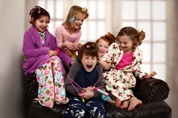 Elementary Girl's Slumber Party Torchering Brother