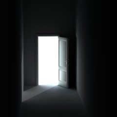 bright light from the unclosed door in a dark room