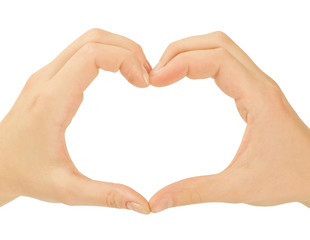 Love concepts - Hands forming a heart on white background(man an