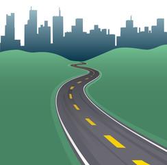 Highway path curve city buildings skyline
