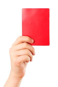 Rote Karte in der Hand