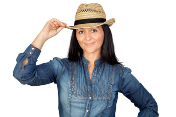 Adorable woman with straw hat