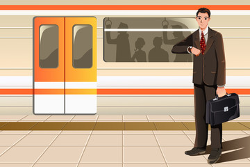 Businessman waiting for subway