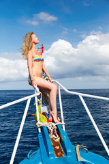 blonde girl on yacht