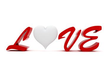3d valentine heart, on white