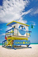 lifeguard house in Miami Beach, Florida , USA