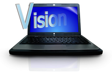 "The word ""Vision"" on display of notebook or laptop computer"