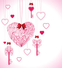 Valentine background with keys and hearts
