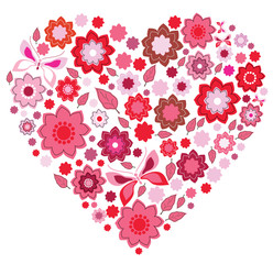 Floral pink Heart and butterfly