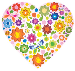 Floral colorful Heart and butterfly