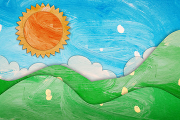 summer view paper painting