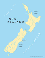 New Zealand political map with capital Wellington, national borders, rivers and lakes. English labeling and scaling. Illustration. Vector.