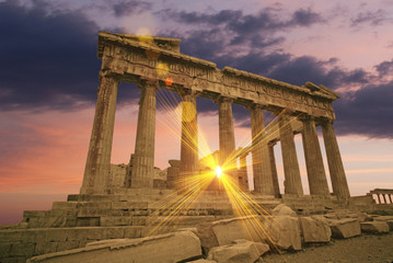 The Parthenon Greek temple at sunset on the acropolis
