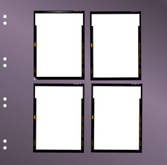 Wall Mural - sheet film contact sheet, vector, blank photo frames