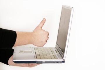 Laptop Daumen hoch