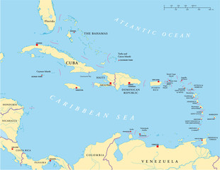 Political map of Caribbean, Greater and Lesser Antilles, with capitals, national borders, rivers and lakes. Illustration with English labeling and scaling. Vector.