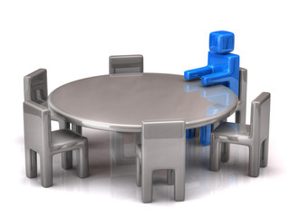Man at a round table on white background