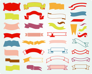 vector colorful collection of ribbons or banners