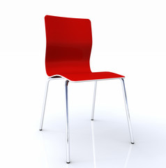 3D Stuhl Silber Rot