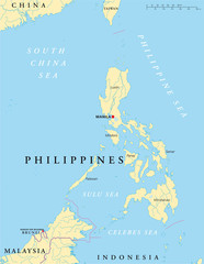 Philippines political map with capital Manila, national borders, rivers and lakes. English labeling and scaling. Illustration. Vector.