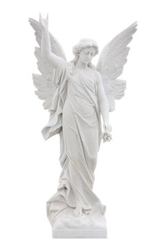 Beautiful marble angel isolated on white with clipping path