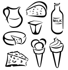 set of dairy products in simple black lines