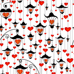 Seamless wallpaper with lanterns and heart for Valentine's day